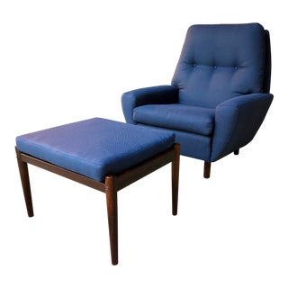 Bernstorffsminde Møbelfabrik Blue Upholstered Rosewood Chair and Ottoman For Sale
