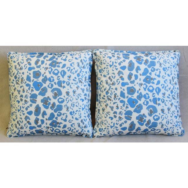 """Custom-tailored pillows in hand-printed Pindler & Pindler """"Tattnall Periwinkle"""" linen-and-cotton fabric. Sky-blue cotton-..."""