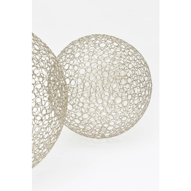 1990s Pair of Sculptural Interweaved Balls For Sale - Image 5 of 9