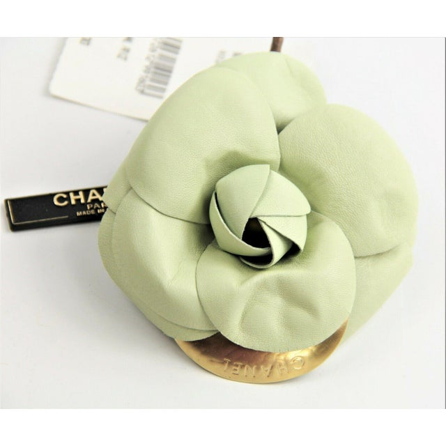 Modern Vintage Chanel Pale Green Lambskin Camellia Flower Brooch Nwt For Sale - Image 3 of 3