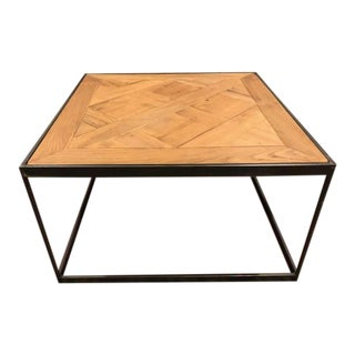 Restoration Hardware Oak Metal Coffee Table