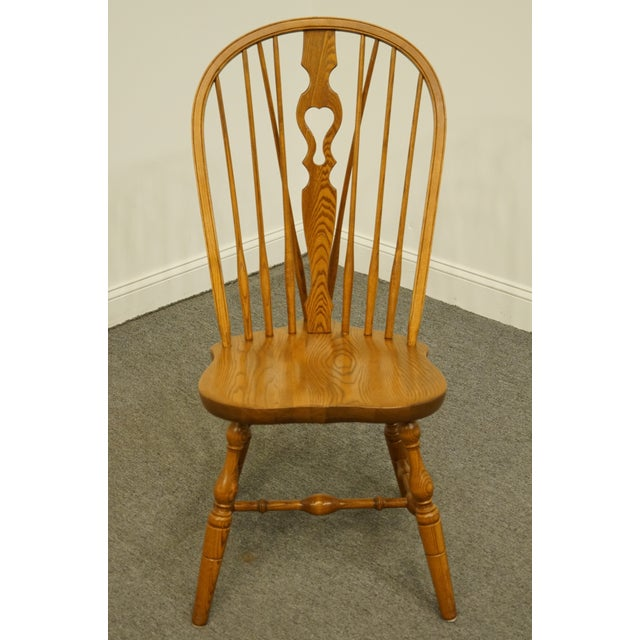 Rustic Late 20th Century Vintage S. Bent Bros. Grand Rapids Solid Oak Country Style Dining Side Chair For Sale - Image 3 of 11