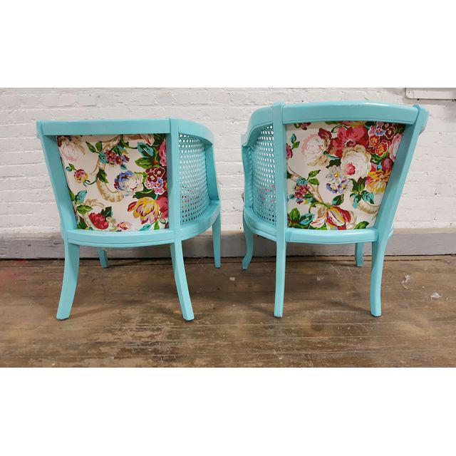 Mid-Century Blue Floral Chairs - A Pair - Image 8 of 10