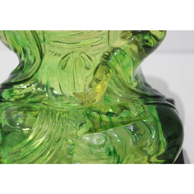 Asian Vintage Seated Buddha Green Translucent Lucite Black Base For Sale - Image 3 of 12