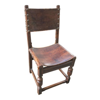 Antique Leather Spanish Style Side Chair
