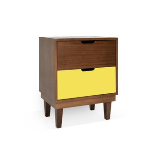 Kabano Modern Kids 2-Drawer Nightstand in Walnut With Yellow Finish Preview