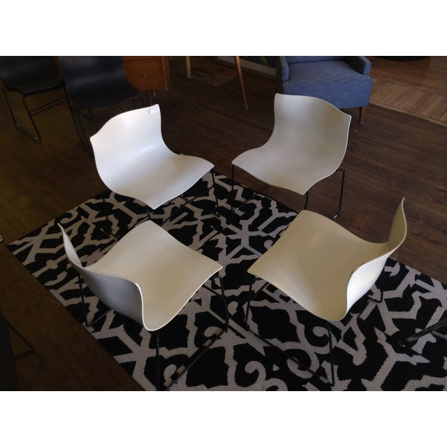 Knoll Vignelli Handkerchief White Chairs- Set of 4 - Image 6 of 6