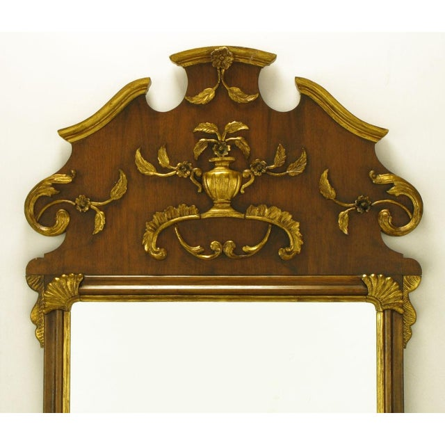 "58"" Carved Walnut Parcel Gilt Italianate Mirror. For Sale - Image 4 of 7"