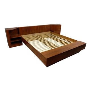 King Teak Tambour Door Platform Bed by Poul Hundevad, Danish Modern For Sale