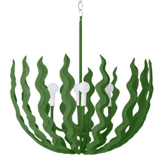 Stray Dog Designs for Chairish Chucho Chandelier, Green For Sale