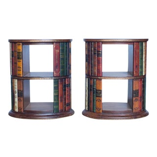Italian Leather Side Tables - A Pair