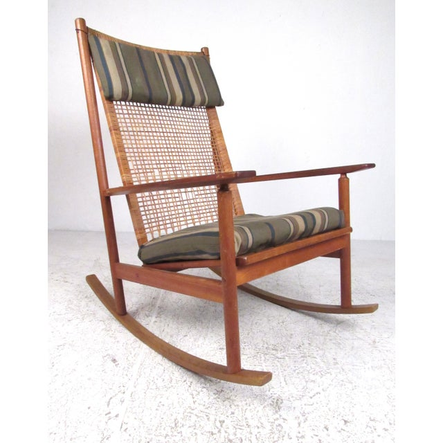 Scandinavian Modern Teak and Cane Rocking Chair by Hans Olsen For Sale - Image 13 of 13