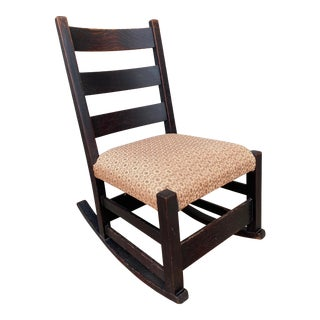 Antique Mission Oak Arts and Crafts Rocking Chair by Gustav Stickley For Sale