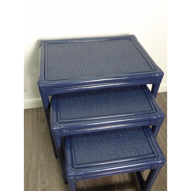Boho Chic Boho Chic Bamboo & Woven Rattan Set of 3 Nesting Tables For Sale - Image 3 of 6