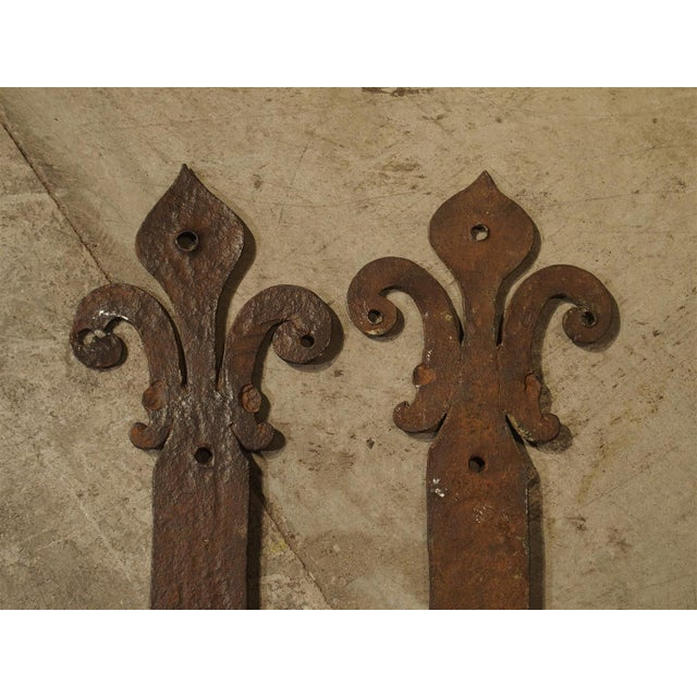 Pair of 15th Century Iron Door Straps From France For Sale - Image 4 of 9