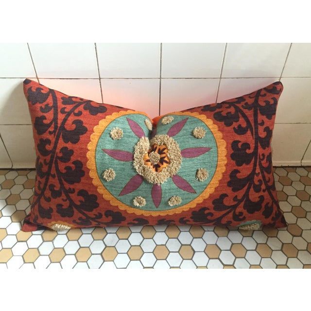 Bohemian Embroidered Orange Pillow Cover - Image 5 of 9