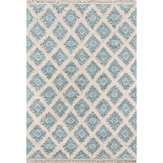 "Harper Aqua Hand Woven Area Rug 7'6"" X 9'6"" For Sale"
