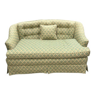 1980s Vintage Petite Trellis Upholstered Tufted Skirted Green Sofa For Sale