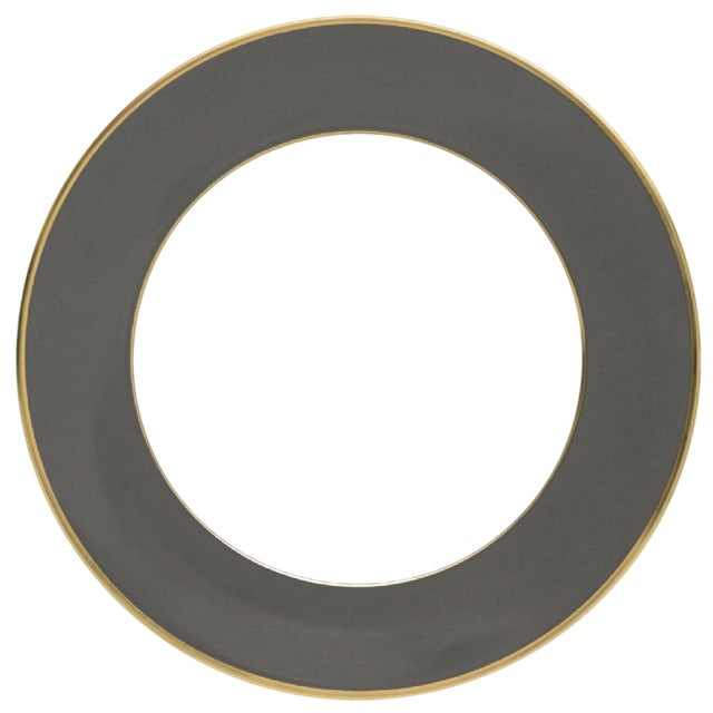"""Schubert"" Charger in Dark Gray & Narrow Gold Rim For Sale"