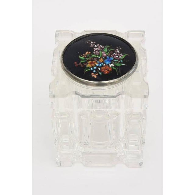 Signed Enameled Foiled Cloisonné and Lucite Vessel/Box For Sale - Image 4 of 11