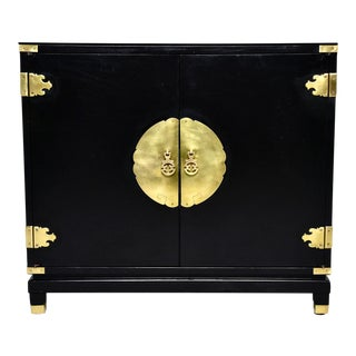 Mid Century Black Asian Style Side Cabinet For Sale
