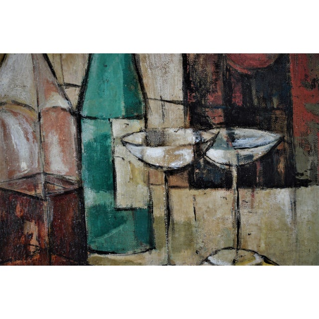 1950s Mid-Century Modern Cubist Oil Painting by Kero S. Antoyan Abstract Expressionism Millennial Pink - Image 7 of 11