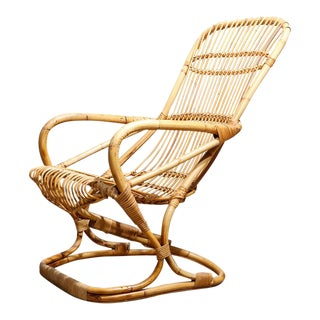 Franco Albini Style Rattan & Bamboo Lounge Chair For Sale