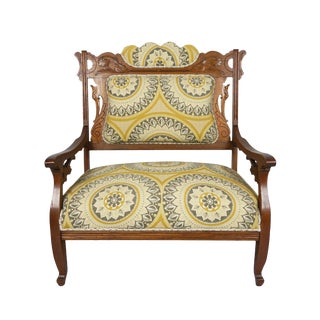 1800s Victorian Eastlake Settee Lounge Chair For Sale