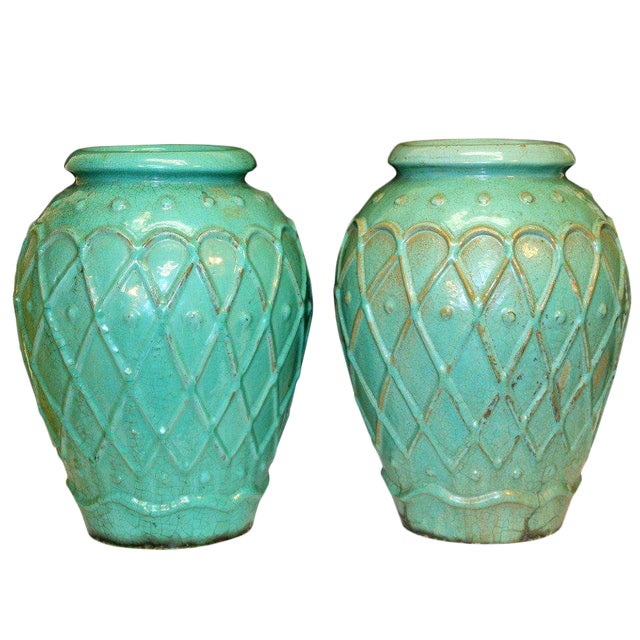 Pair of Galloway Terracotta Company Urns For Sale