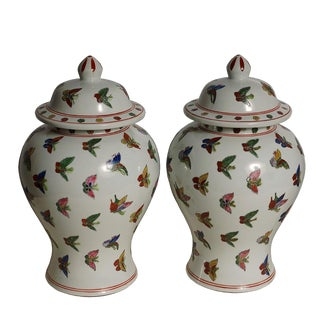 Antique Chinese Famille-Rose Porcelain Ginger Jar - A Pair For Sale
