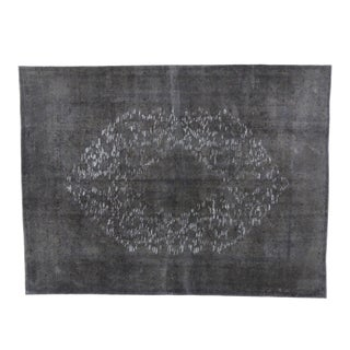 Distressed Vintage Turkish Dark Gray Rug - 09'06 X 12'08 For Sale