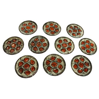 Mid Century Modern Pottery Oyster Plates - Set of 10 For Sale