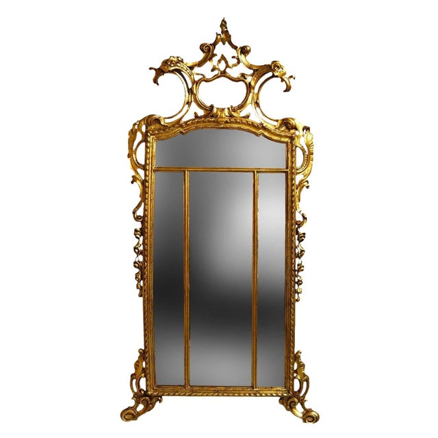 19th Century Louis XIV Style Gilt Wood and Gesso Mirror For Sale - Image 12 of 13