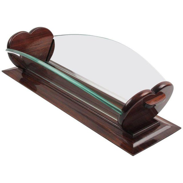 1930s Art Deco Rosewood and Glass Long Centerpiece Bowl Decorative Basket For Sale - Image 9 of 9
