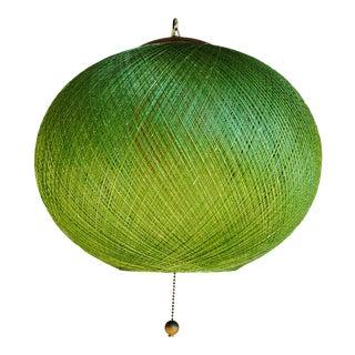 Mid-Century Modern Avocado Green Fiberglass Spun Spaghetti Swag Lamp For Sale
