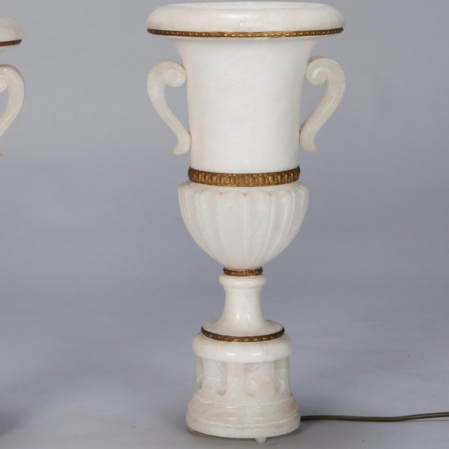 Pair Tall Urn Form Alabaster and Bronze Lamps For Sale In Detroit - Image 6 of 11