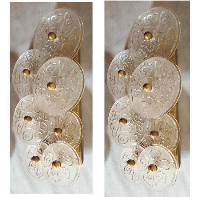 Mid Century Modern Murano Glass & Brass Sconces by Vistosi Italy 1960s - 2 Pairs For Sale - Image 9 of 9