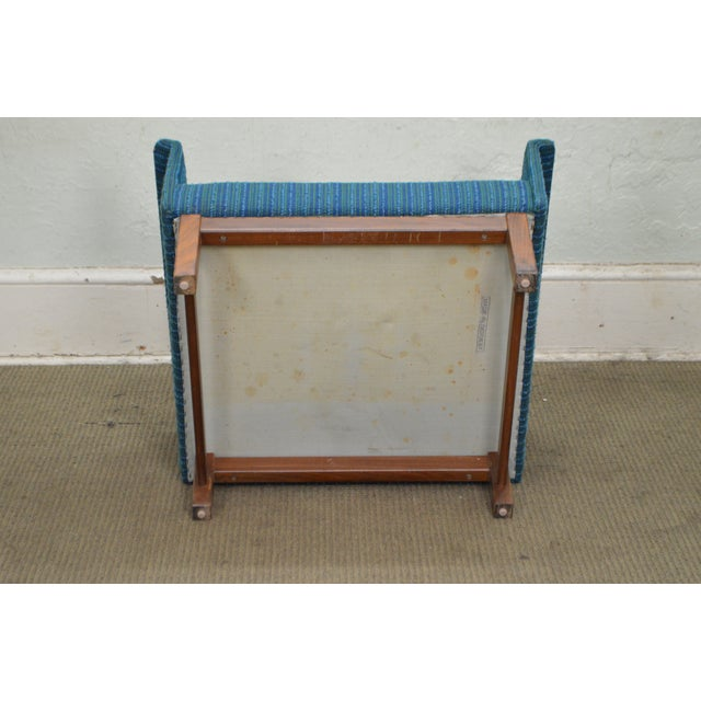 Danish Modern Mid Century Teak Frame Blue Upholstered Lounge Chair For Sale - Image 10 of 10