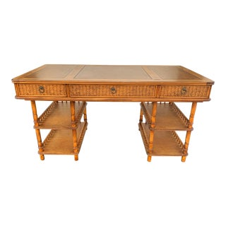 Campaign Leather Top Rattan Writing Desk For Sale