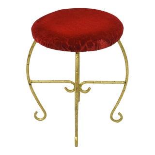 Vintage Red & Gold Italian Vanity Stool