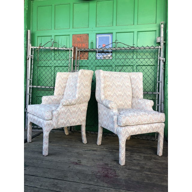 White Mid Century High Back Wingback Chair With Vintage Upholstery- A Pair For Sale - Image 8 of 12