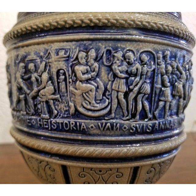 "Late 18th Century 1584 Flemish Salt Glazed Pottery Beer Ewer ""Story of Susanna"" After Engel Kran For Sale - Image 5 of 13"
