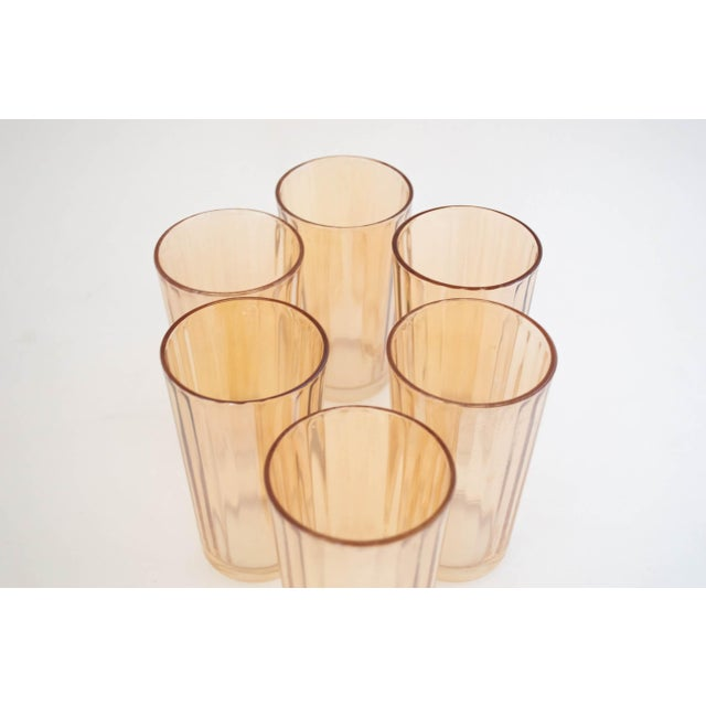 "Jeanette Glass Marigold ""Optic Pillar"" Tumbler Set/6 For Sale In San Francisco - Image 6 of 7"