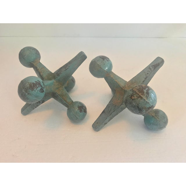 Contemporary Fun Scale Cast Iron Turquoise Jacks - a Pair For Sale - Image 3 of 11