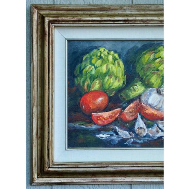 Artichoke Vegetable Still Life Original Oil Painting For Sale - Image 4 of 11