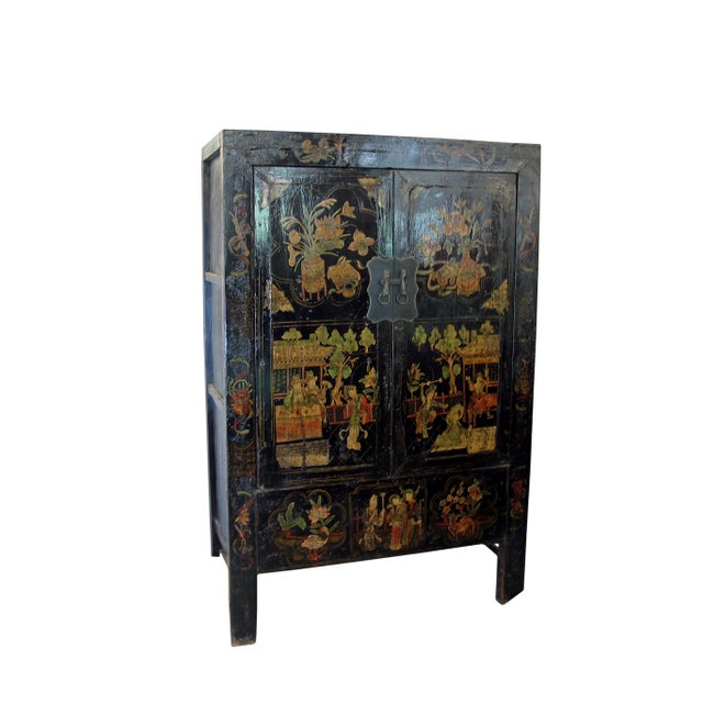19th Century Chinoiserie-Style Black Elm Cabinet For Sale - Image 4 of 11