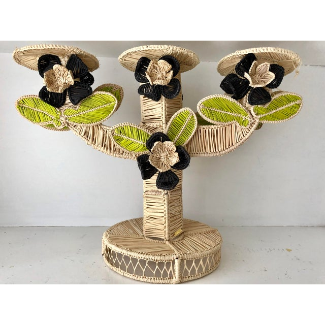 Mercedes Salazar Handmade Straw Candleholder For Sale In Miami - Image 6 of 7