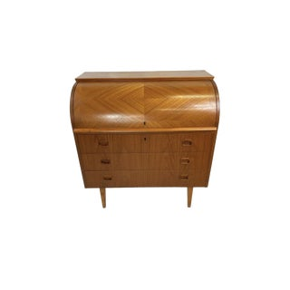 1960s Mid Century Modern Ostergaard Teak Secretary Desk For Sale