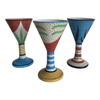 Neiman Marcus Grazia Deruta Italian Art Pottery Wine Goblets - Set of 3 For Sale