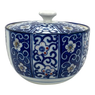 Blue & White Ironstone Sugar Bowl For Sale